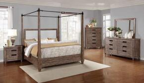 Madeleine Collection 203541KE5SET 5 PC Bedroom Set with Eastern King Size Canopy Bed + Dresser + Mirror + Chest + Nightstand in Smoky Acacia Finish