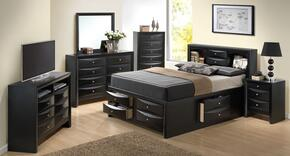 G1500GQSB3NTV 3 Piece Set including  Queen Size Bed, Nightstand and Media Chest  in Black