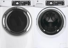 "White Front Load Laundry Pair with GFW480SSKWW 28"" Washer and GFD48ESSKWW Electric Dryer"