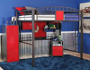 14Y2003LBCA Garage Loft Bed + Cabinet with 2 Cubby Compartments, Side Ladder and Tubular Steel Frame in Gunmetal