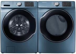 "Azure Blue Front Load Laundry Pair with WF45M5500AZ 27"" Front Load Washer and VG45M5500Z 27"" Gas Dryer"