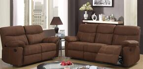 U1726-MOCHA-R/SL Two Piece Reclining Living Room Set with Sofa and Loveseat in Rider Mocha