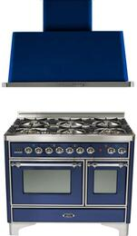 "2-Piece Midnight Blue Kitchen Package with UMD1006DMPBLX 40"" Freestanding Dual Fuel Range (Chrome Trim, 6 Burners, Timer) and UAM100BL 40"" Wall Mount Range Hood"
