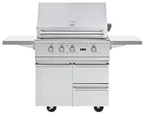 VGBQ53624N Professional 5 Series Outdoor Ultra-Premium Gas Grill with 25,000 BTU Stainless Steel Burners, 15,000 BTU Infrared Rear Burner, Easy Lift Canopy, Smoke Box, and Matching Cart