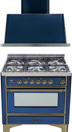 "2-Piece Midnight Blue Kitchen Package with UM906DMPBLY 36"" Freestanding Dual Fuel Range (Oiled Bronze Trim, 6 Burners, Timer) and UAM90BL 36"" Wall Mount Range Hood"