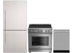 "3-Piece Kitchen Package with BRFB1812SSN 30"" Bottom Freezer Refrigerator, BDFP34550SS 30"" Slide-in Electric Range, and a free DWT55300SS 24"" Built In Fully Integrated Dishwasher in Stainless Steel"