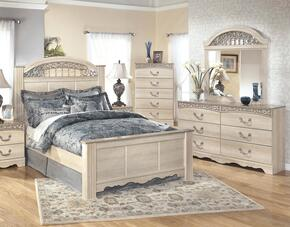 Catalina Queen Bedroom Set with Panel Bed, Dresser, Mirror and Chest in Antique White