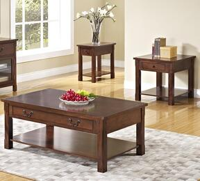 30706CEE Corsica 3 Piece Occasional and Entertainment Table Set with Cocktail Table, End Table and Chairside End Table, in Chestnut
