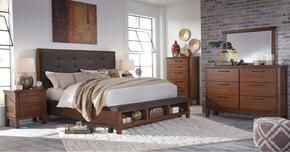 Holloway Collection King Bedroom Set with Panel Bed, Dresser, Mirror and Nightstand in Medium Brown