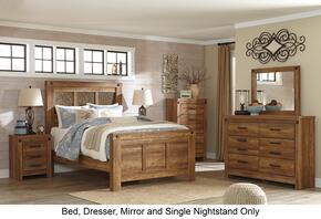 Ladimier King Bedroom Set with Panel Bed, Dresser, Mirror and Nightstand in Golden Brown
