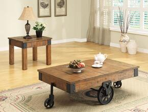 701458CE 2 PC Living Room Table Set with Coffee Table + End Table in Rustic Brown Finish