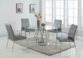 Judith Collection JUDITH-5PC-SET 5-Piece Dining Room Set with Dining Table and 4x Arm Chairs in Stainless Steel