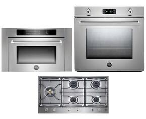 "Professional 3-Piece Stainless Steel Kitchen Package with F30PROXE 30"" Single Electric Wall Oven, PM365S0X 36"" Gas Cooktop and SO24PROX Built In Microwave"