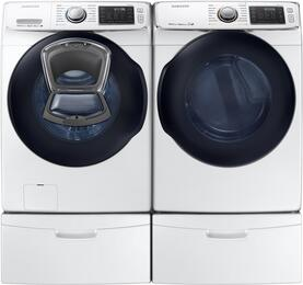 "White Front Load Laundry Pair with WF45K6500AW 27"" Washer, DV45K6500GW 27"" Gas Dryer and 2 WE357A0W Pedestals"
