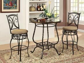 Tavio 96345T2C 3 PC Bar Table Set with Bar Table + 2 Swivel Chairs in Antique Black Finish