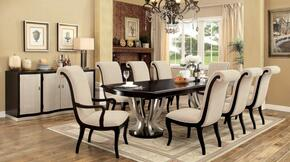 Ornette Collection CM3353T6SC2ACSV 10-Piece Dining Room Set with Rectangular Table, 6 Side Chairs, 2 Arm Chairs and Server in Espresso & Champagne Finish