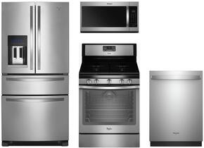 "4-Piece Stainless Steel Kitchen Package with WRX735SDBM 36"" French Door Refrigerator, WFG540H0ES 30"" Freestanding Gas Range, WMH32519HZ 30"" Over the Range Microwave, and WDT975SAHZ 24"" Fully Integrated Dishwasher"