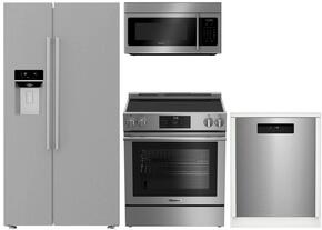 "4-Piece Stainless Steel Kitchen Package with BSBS2230SS 36"" Side by Side Refrigerator, BERU30420SS 30"" Freestanding Gas Range, BOTR30100SS 30"" Over-the-Range Microwave oven and DWT25502SS 24"" Dishwasher"