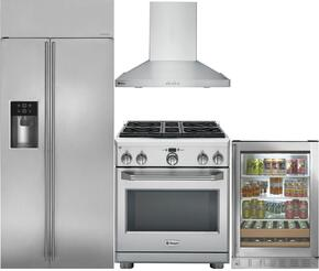 "4-Piece Stainless Steel Kitchen Package with ZISS360DKSS 36"" Side by Side Refrigerator, ZGP304NRSS 30"" Freestanding Gas Range, ZV830SMSS 30"" Wall Mount Hood, and ZDBR240HBS 24"" Beverage Center"