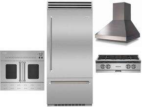 "4-Piece Kitchen Package with BBB36R2 36"" Bottom Freezer Refrigerator RGTNB364FTV2NG 36"" Gas Cooktop, BSHAMP36SS 36"" Wall Mount Range Hood and BWO36AGSNG 36"" Gas Single Wall Oven in Stainless Steel"