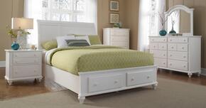Hayden Place Collection 6 Piece Bedroom Set With Queen Size Storage Sleigh Bed + 2 Nightstands + Dresser + Drawer Chest + Mirror: White