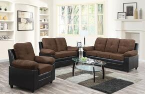 Santiana 51365SLC 3 PC Living Room Set with Sofa + Loveseat + Chair in Chocolate Color