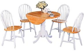 4241SET Damen 5 Pc Dining Set in Natural Wood (Table and 4 Chairs)