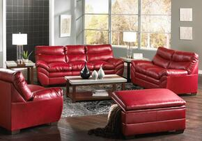 Soho 9515-030201095  4 Piece Set including Sofa, Loveseat , Chair and Ottoman with  Bonded Leather, Stitched Detailing  in Cardinal