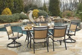 Christie Collection OD-365-RECT4C2SC 7-Piece Outdoor Patio Set with Rectangular Dining Table, 4 Side Chairs and 2 Swivel Chairs in Tan and Brown