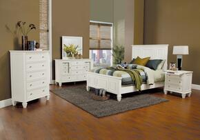 Sandy Beach 201301EKDMCN 5 PC Bedroom Set with Eastern King Size Bed + Dresser + Mirror + Chest + Nightstand in White Color