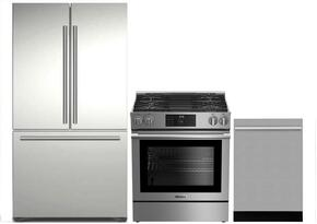 "3-Piece Kitchen Package with BRFD2230SS 36"" French Door Refrigerator, BGR30420SS 30"" Slide In Gas Range, and DWT55100SS 24"" Built In Fully Integrated Dishwasher in Stainless Steel"