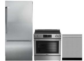 "3-Piece Kitchen Package with BRFB1920SS 30"" Bottom Freezer Refrigerator, BGRP34520SS 30"" Freestanding Gas Range, and a free DWT55300SS 24"" Built In Fully Integrated Dishwasher in Stainless Steel"