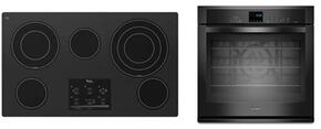 "2-Piece Kitchen Package with G9CE3675XB 36"" Electric Cooktop and WOS92EC7AB 27"" Electric Single Wall Oven in Black"