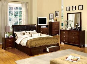Enrico III Collection CM7066QBEDSET 6 PC Bedroom Set with Queen Size Platform Bed + Dresser + Mirror + Chest + Nightstand + Media Chest in Brown Cherry Finish