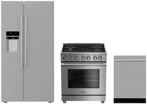 "3-Piece Kitchen Package with BSBS2230SS 36"" Side by Side Refrigerator, BGRP34520SS 30"" Freestanding Gas Range, and a free DWT55300SS 24"" Built In Fully Integrated Dishwasher in Stainless Steel"