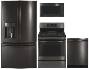 """4-Piece Black Stainless Steel Kitchen Package with PFD28KBLTS 36"""" French Door Refrigerator, PGB911BEJTS 30"""" Freestanding Gas Range, PVM9005BLTS 30"""" Over the Range Microwave, and PDT845SBLTS 24"""" Fully Integrated Dishwasher"""