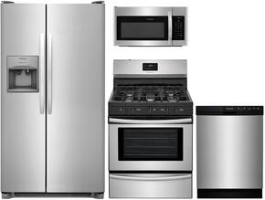 "4-Piece Kitchen Package with FFSS2615TS 36"" Freestanding Side by Side Refrigerator, FFGF3052TS 30"" Freestanding Gas Range, FFMV1645TS 30"" Over the Range Microwave Oven, and FFBD2412SS 24"" Built In Full Console Dishwasher in Stainless S"
