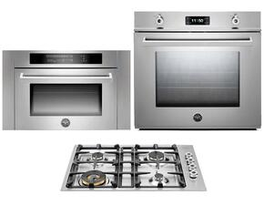 "Professional 3-Piece Stainless Steel Kitchen Package with F30PROXE 30"" Single Electric Wall Oven, QB30400X 30"" Gas Cooktop and SO24PROX Built In Microwave"