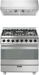 "2-Piece Stainless Steel Kitchen Package with C30GGXU1 30"" Freestanding Gas Range and KUC30X 30"" Under Cabinet Ducted Hood"