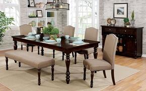 Hurdsfield Collection CM3133T4SCBNSV 7-Piece Dining Room Set with Rectangular Table, 4 Side Chairs, Bench and Server in Antique Cherry
