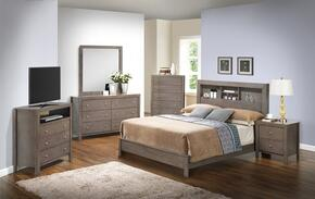 G2405B Collection G2405BQB2SET 6 PC Bedroom Set with Queen Size Bed + Dresser + Mirror + Chest + Nightstand + Media Chest in Grey Finish