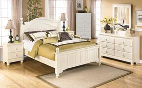 Cottage Retreat Full Bedroom Set with Poster Bed, Dresser, Mirror and Nightstand in Cream