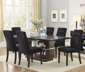 Lincoln Collection 106891TC 7 PC Dining Room Set with Dining Table + 6 Side Chairs in Dark Brown Finish