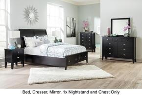Braflin King Bedroom Set with Storage Panel Bed, Mirror, Dresser, Single Night Stand and Chest in Black