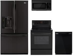 """4-Piece Black Kitchen Package with LFX25974SB 36"""" French Door Refrigerator, LRE3083SB 30"""" Freestanding Electric Range, LDF7774BB 24"""" Fully-Integrated Dishwasher and LMV1683SB 30"""" Over-the-Range Microwave"""