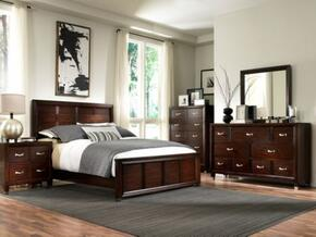 Eastlake 2 Collection 5 Piece Bedroom Set With King Size Panel Bed + 2 Nightstands + Dresser + Mirror: Brown Cherry