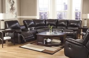 Capote DuraBlend 44500SETL 2-Piece Living Room Set with Left Loveseat Sectional Sofa and Swivel Glider Recliner in Chocolate