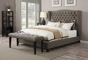 Faye Collection 20900QB 2 PC Bedroom Set with Queen Size Bed + Bench in 2 Tone Chocolate Color