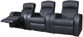 Cyrus Collection 600001SETA 3 PC Living Room Set with 3 Recliners in Black Color