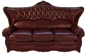988BURGS2SET Traditional 2 Piece Livingroom Set, Sofa and Loveseat in Burgundy with Mahogany Wood Finish
